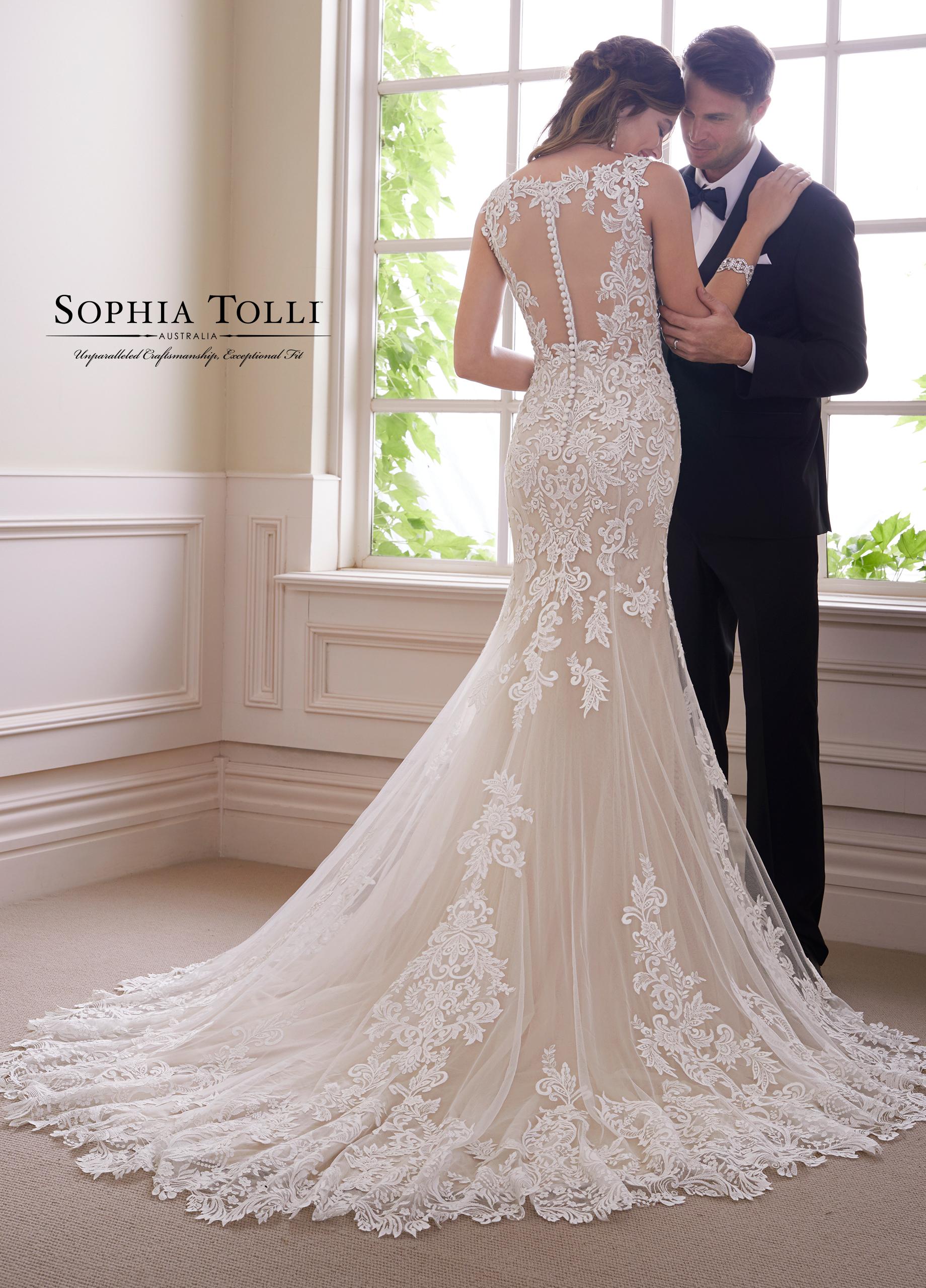 Sophia Tolli Wedding Dress Y21819 Ametrine V neck fit and flare wedding dress