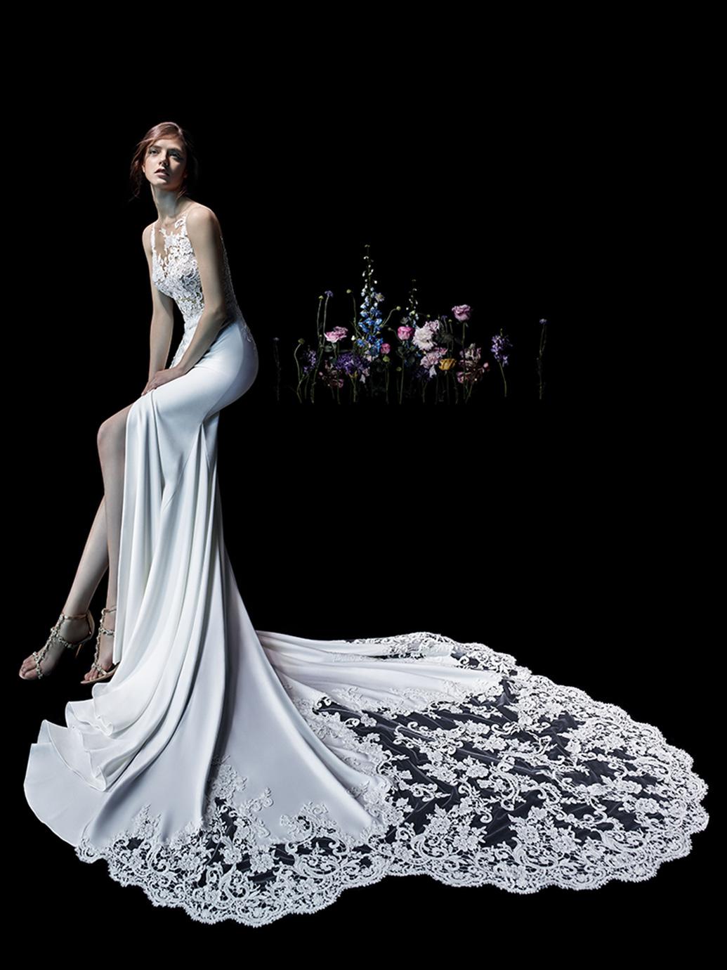 Enzoani wedding dress sexy wedding dress lace long tail mermaid wedding dress