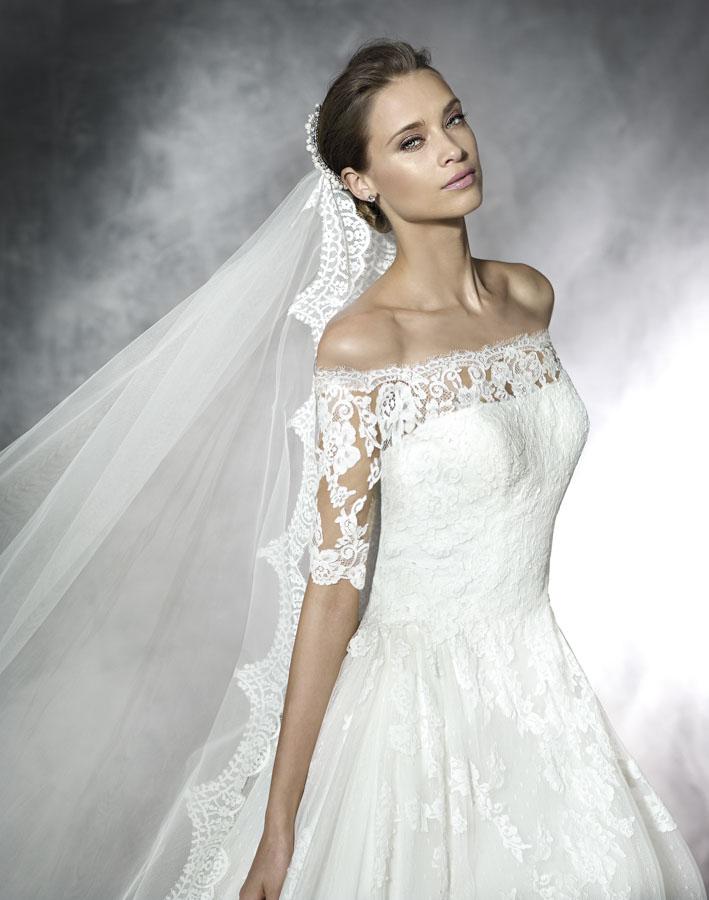 Pronovias Pleasant Wedding Dress Sample Sale, off shoulder wedding dress, Aline wedding dress, lace back wedding dress, half sleeve wedding dress