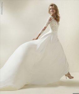 Pronovias Wedding Dress Dramae Crepe Aline wedding dress Long sleeve wedding dress