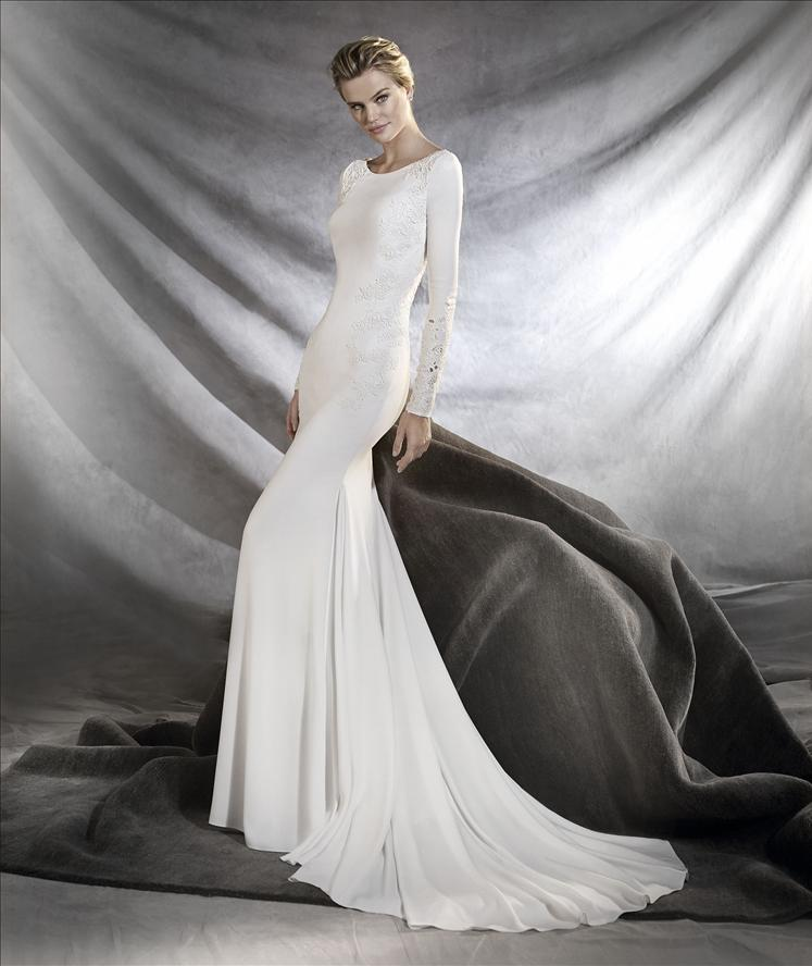 Pronovias Wedding Dress Orquidea Crepe Long Sleeve Wedding Dress