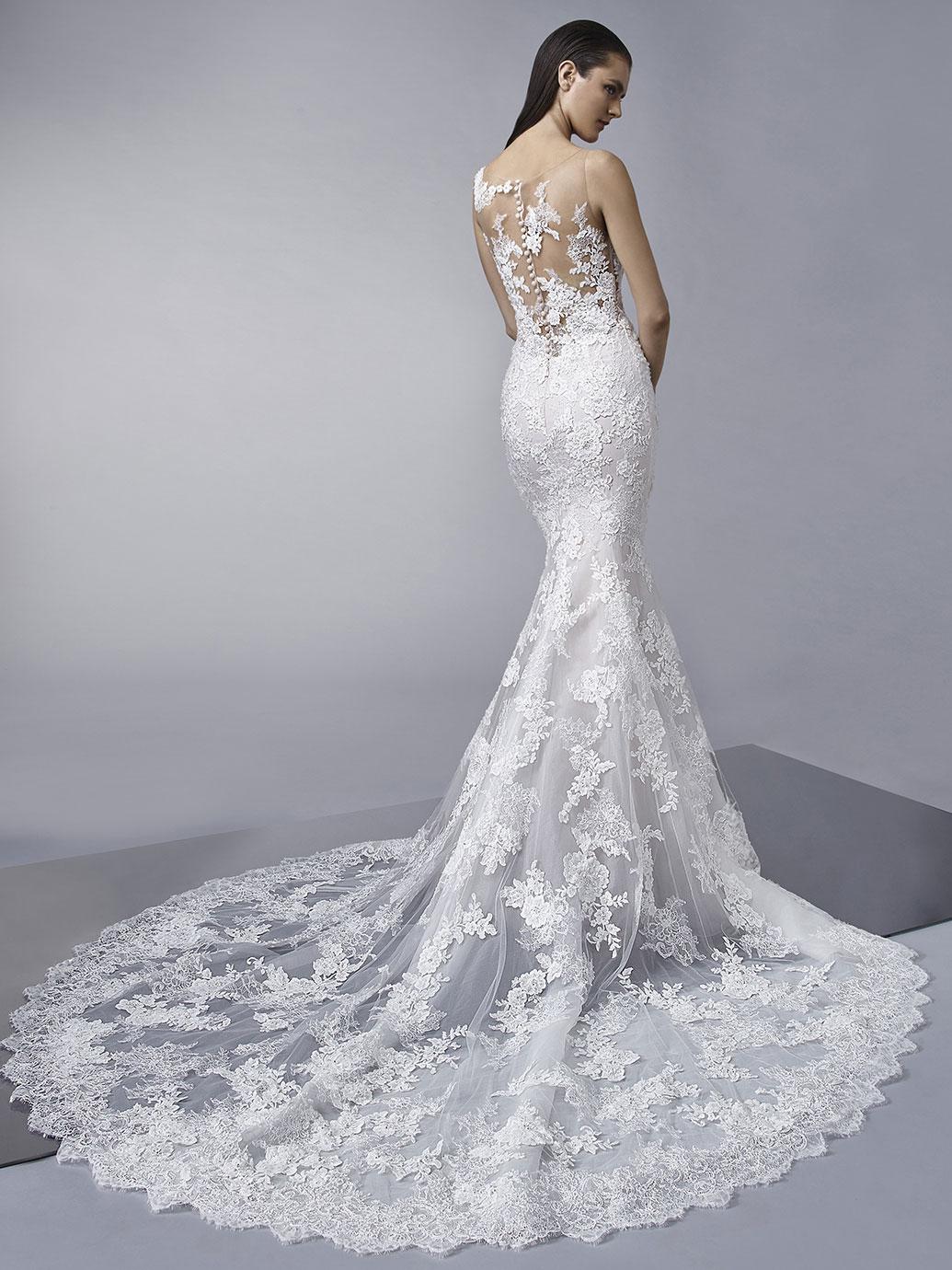 Enzoani Wedding Dress sheer top wedding dress long tail mermaid wedding dress