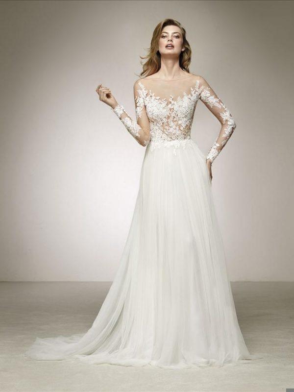Pronovias Wedding Dress Datil Pronovias bridal gown with light skirt
