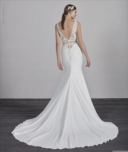 Pronovias crepe wedding dress, sexy wedding dress lace see through wedding dress