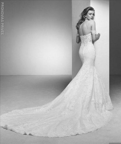 Pronovias wedding dress off shoulder mermaid wedding dress deep v neckline wedding dress