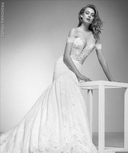 Pronovias wedding dress Imelda off shoulder mermaid wedding dress deep v neckline wedding dress