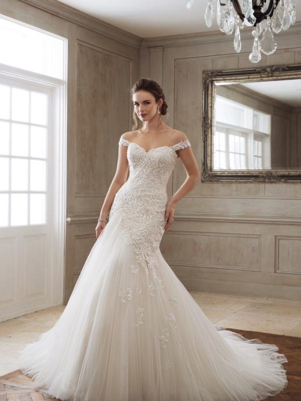 Sophia Tolli Drop Waist wedding Dress, off shoulder wedding dress