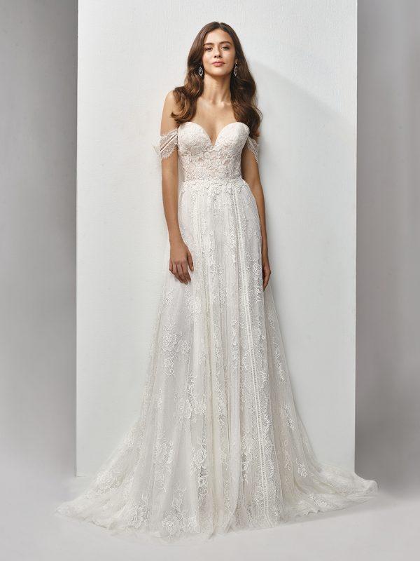 Enzoani Wedding Dress BT19-07 boho wedding dress Aline wedding dress off shoulder wedding dress