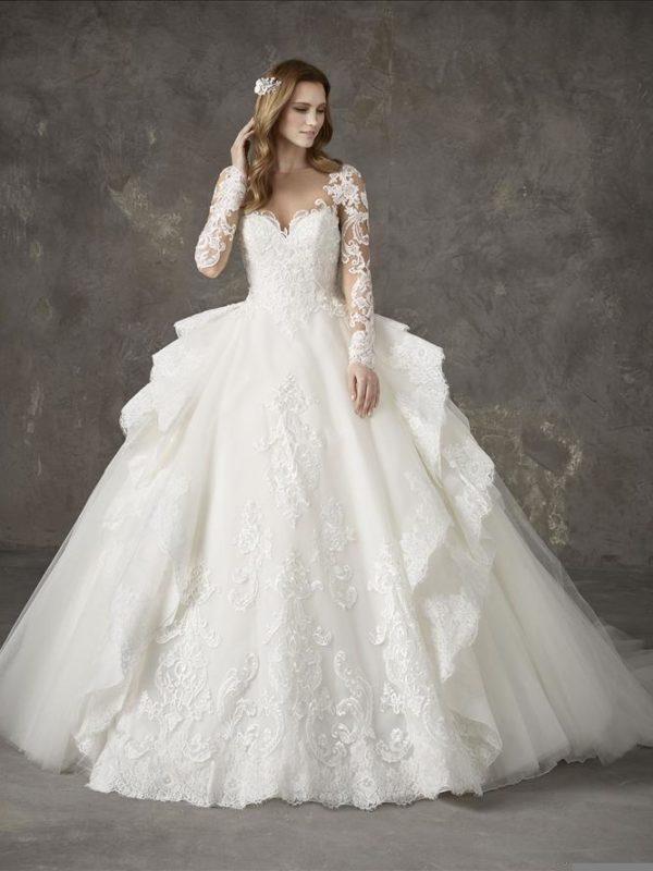 Pronovias Wedding Dress NAPOLES Pronovias long sleeve ball gown