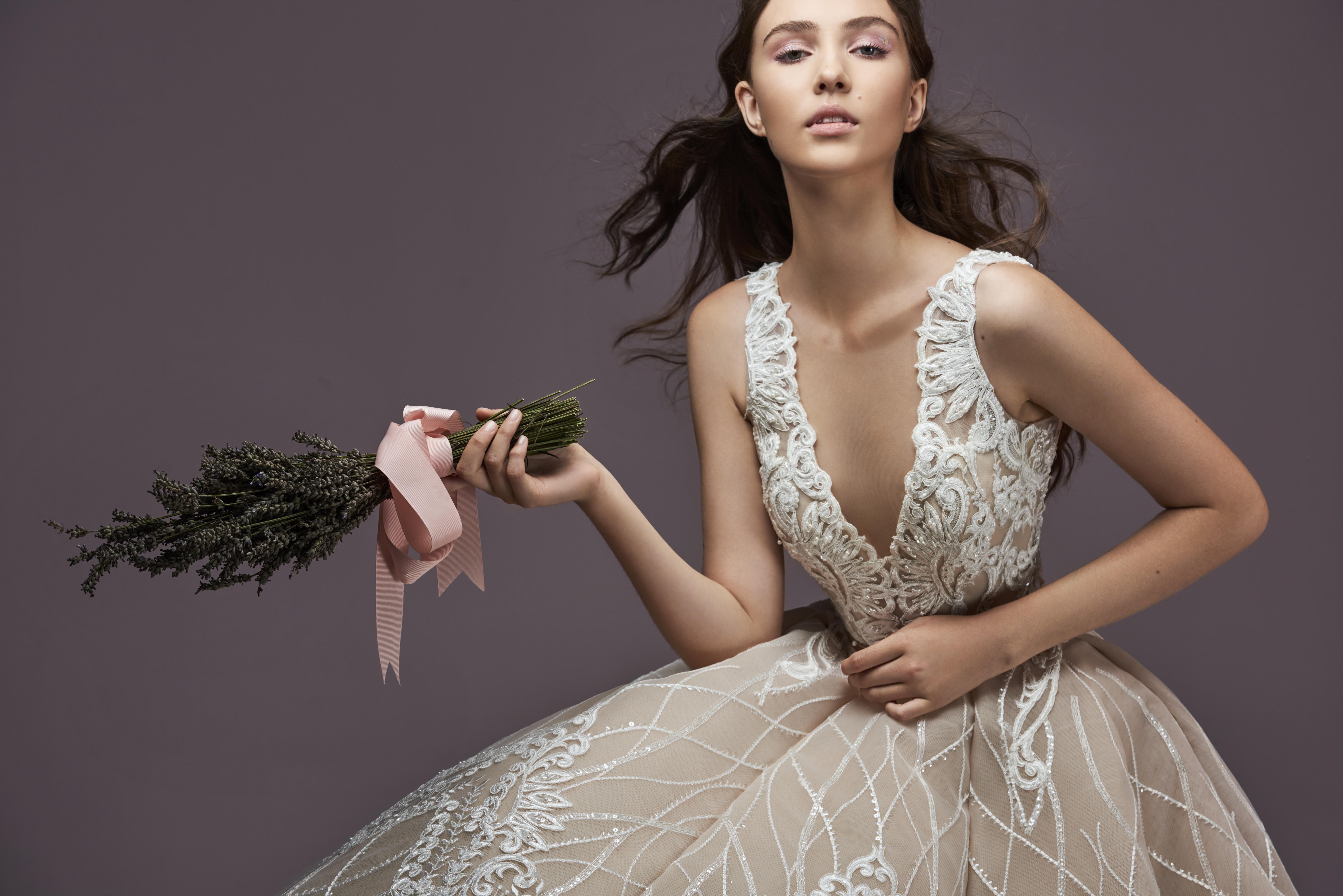 Saiid Kobeisy Aline Wedding Gown, V-neck Ball Gown
