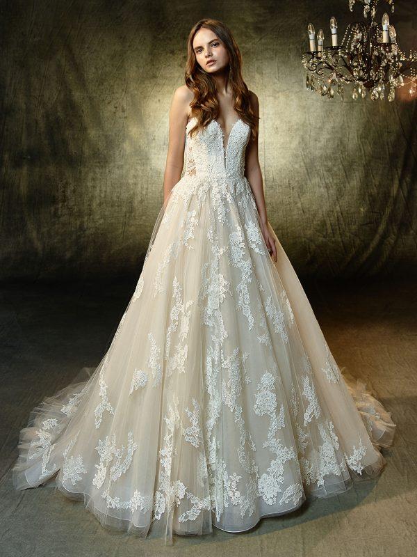 Enzoani Wedding Dress Landry Aline wedding dress, Deep V neck line wedding dress Strapless wedding dress