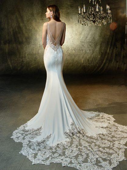 Enzoani Wedding Dress Lena, Stretch Georgette wedding dress, low back wedding dress, sexy wedding dress, long tail wedding dress, mermaid wedding dress, sheath wedding gown