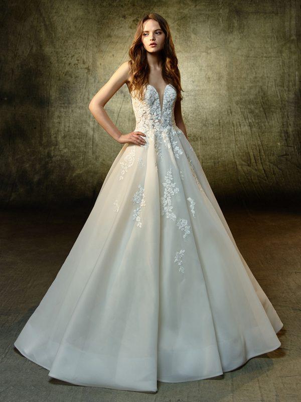 Enzoani Wedding Dress Lyvia, Aline wedding dress, strapless wedding dress, Aline wedding dress, deep v neckline wedding dress, organza wedding dress, romantic wedding dress