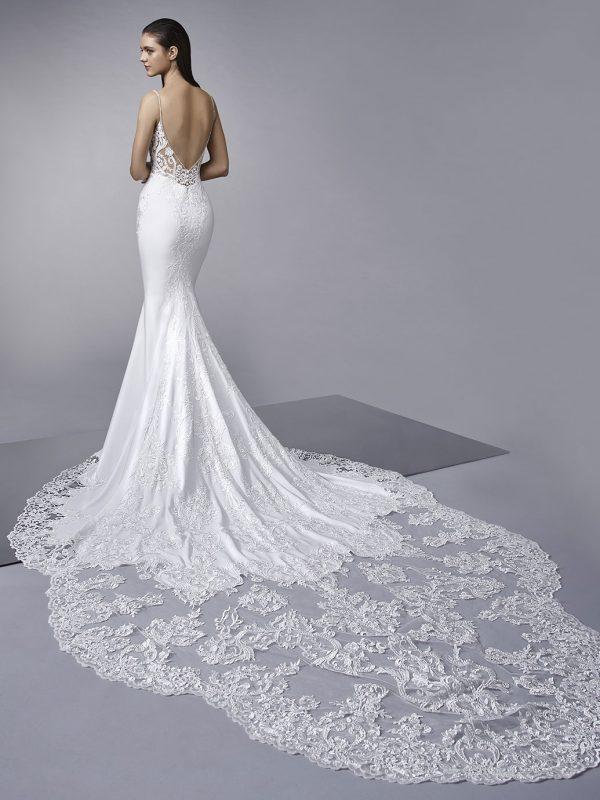 Enzoani Wedding Dress Mckinley, Sexy wedding dress, low back wedding dress, simple wedding dress, Stretch Georgette & Lace, fitted wedding dress, sexy wedding dress, sheath wedding dress, long tail wedding dress