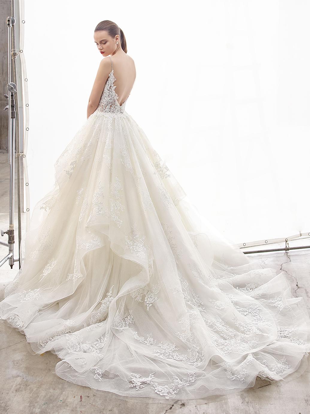 Enzoani Wedding Dress Natassia, ruffle skirt wedding dress, v neck wedding dress, spaghetti strap wedding dress, lace ball gown