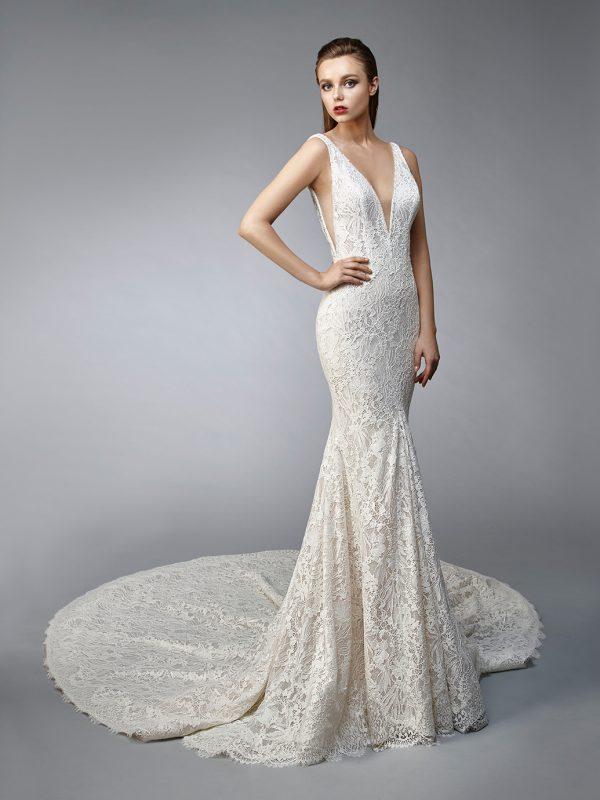 Enzoani Wedding Dress Neptune, low back wedding dress, sexy mermaid, low v neck wedding dress, sheath wedding dress, mermaid wedding dress