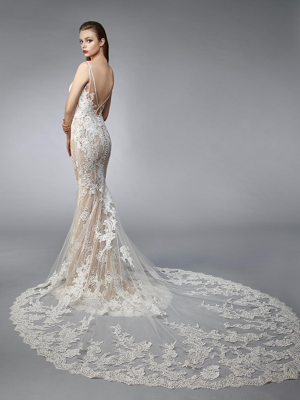 Enzoani Wedding Dress Neve, mermaid wedding dress, sexy back wedding dress, low back wedding dress, v neck wedding dress, sheath wedding dress, mermaid wedding dress