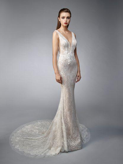 Enzoani Wedding Dress Nicky, Low back wedding dress, sexy wedding dress, V neck wedding dress, sheath wedding dress, mermaid wedding dress, fit and flare wedding dress
