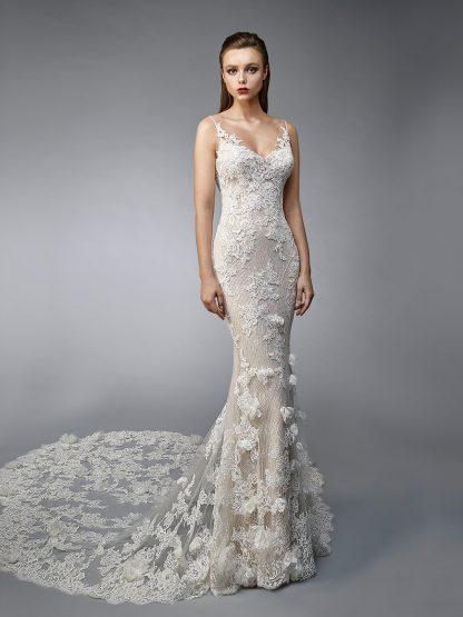 Enzoani Wedding Dress Nicolette, Low back wedding dress, sexy wedding dress, two piece wedding dress, strap wedding dress, mermaid wedding dress, long tail mermaid wedding dress