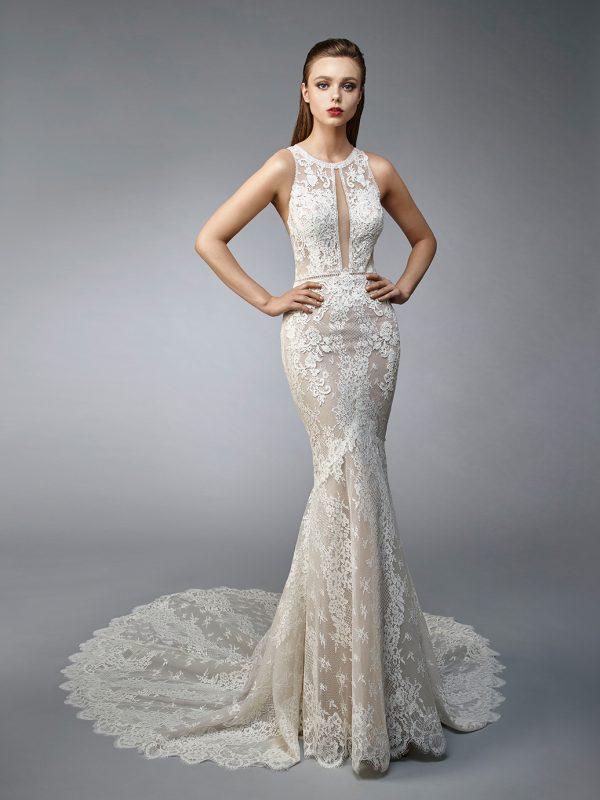 Enzoani wedding dress Novia, Sexy wedding dress, fit and flare wedding dress, sheath wedding dress, mermaid wedding dress,unique wedding dress, high neck wedding dress