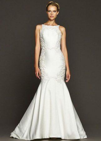 Badgley Mischka Wedding Dress Mikado wedding dress, key hole wedding dress, mermaid wedding dress couture wedding dress