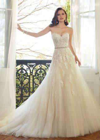 Sophia Tolli Wedding Dress Y11552 wedding dress sample sale, strapless Aline wedding dress, sweet heart neckline Aline wedding dress