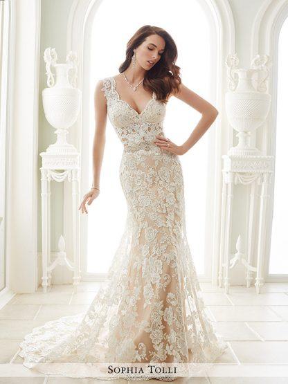 Sophia Tolli Wedding Dress Sample Sale Y21656, Mermaid Wedding Dress, Sexy back wedding dress, v neck wedding dress