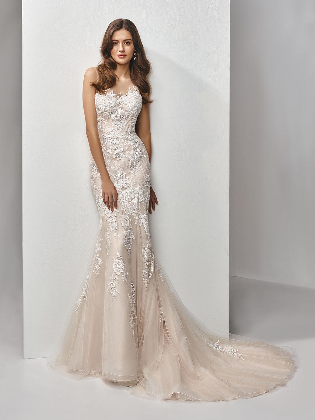 Enzoani Beautiful Wedding Dress, Fit and flare wedding dress, lace tattoo back wedding dress, sexy back wedding dress, mermaid wedding dress, high neck sheer tulle wedding dress