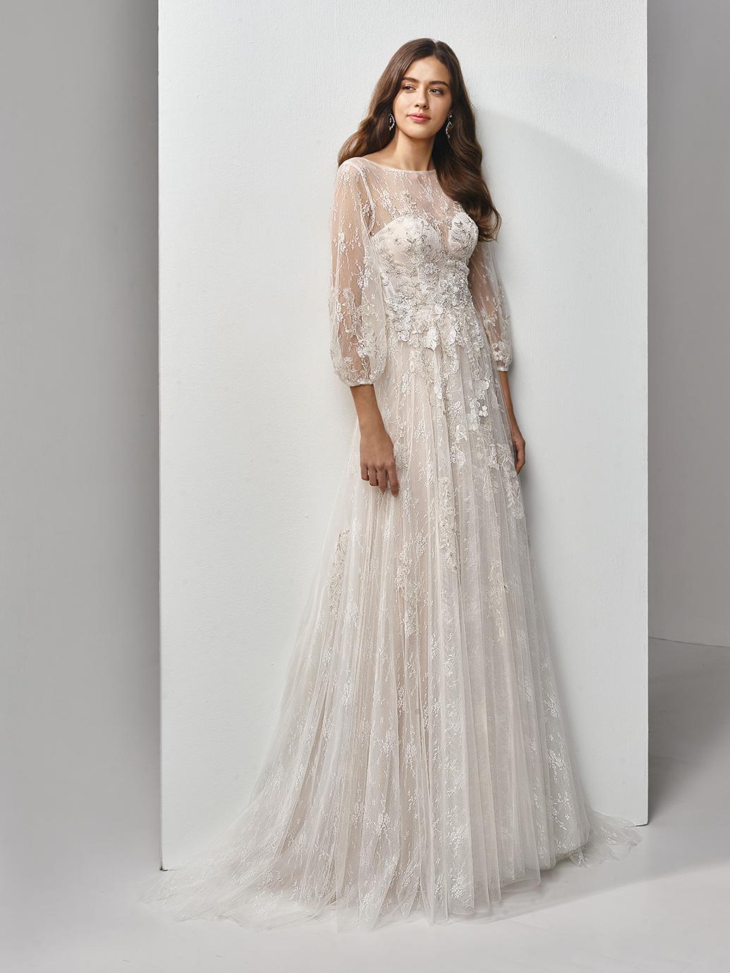 Enzoani Beautiful Wedding Dress AL0678, Long Sleeve wedding dress, Aline wedding dress, low back wedding dress, bohemian wedding dressBT19-18