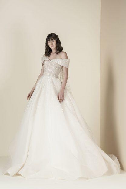 Off shoulder wedding dress, saiid kobeisy bridal gown, beaded Aline wedding dress