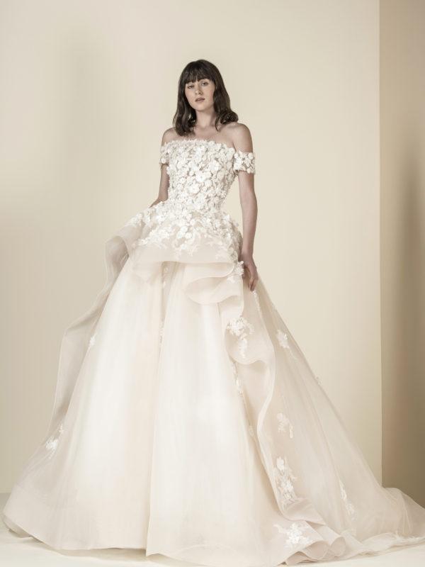 Saiid Kobeisy Wedding Dress, Off shoulder wedding dress, Ball gown wedding dress, Floral wedding dress