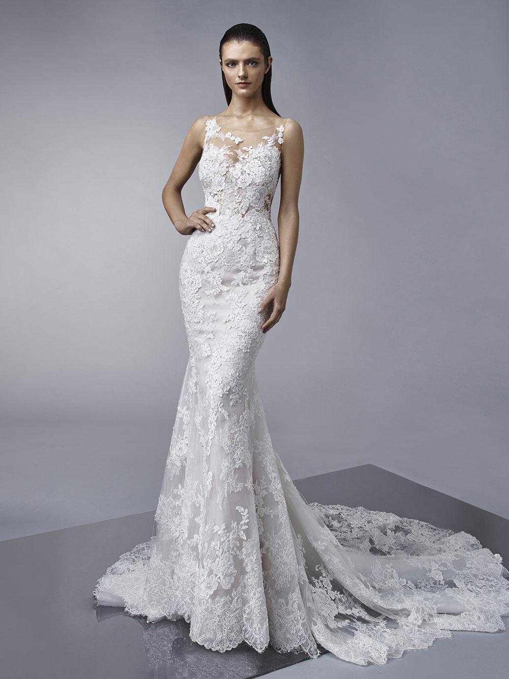 Enzoani Mindy wedding dress, lace tattoo wedding dress, mermaid wedding dress, fit and flare wedding dress